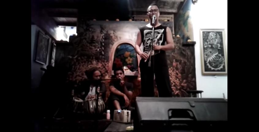 Performing at Bali Bohemia open mic night.