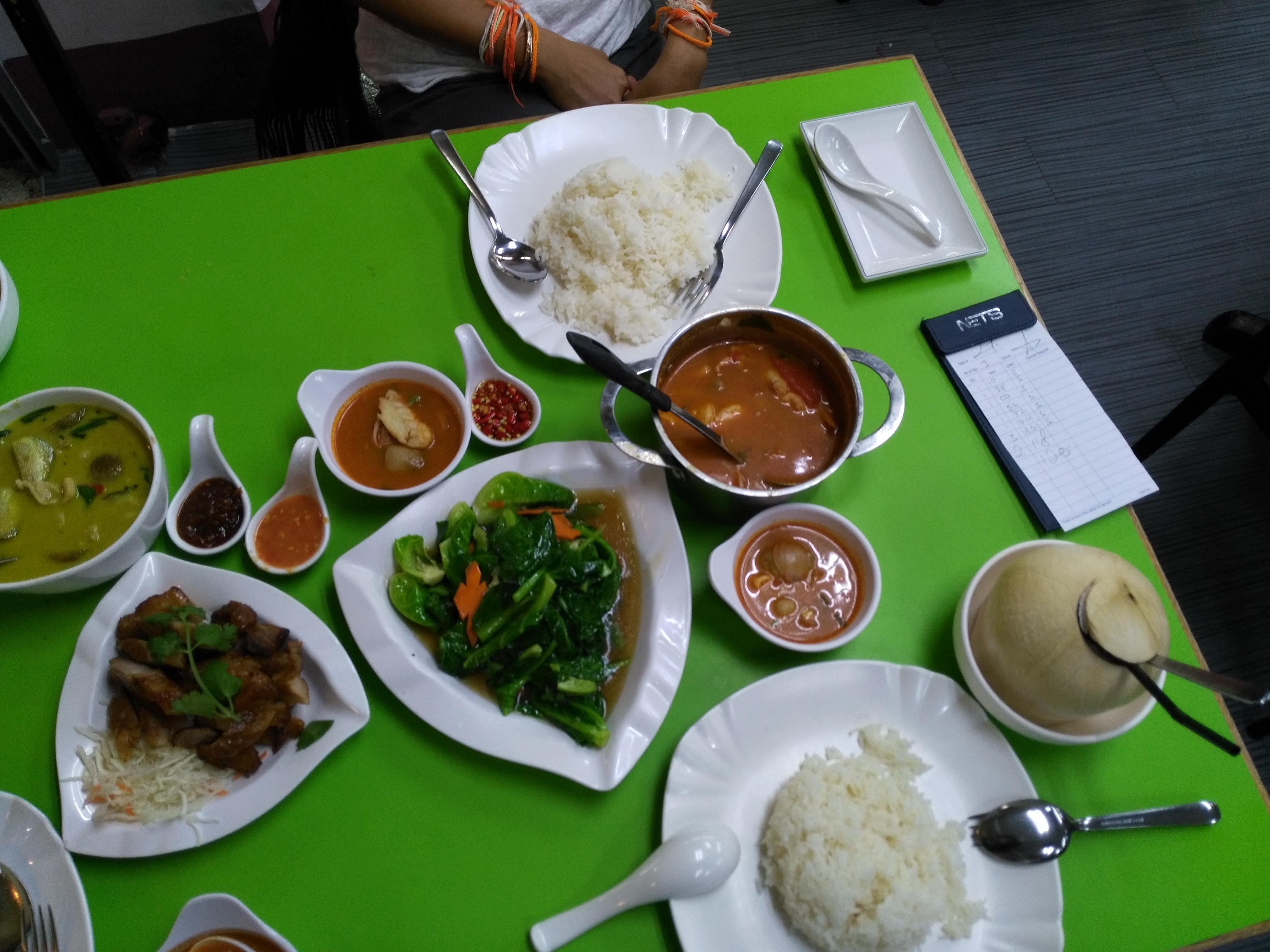 An awesome spread of thai food at the Golden Mile in Singapore.