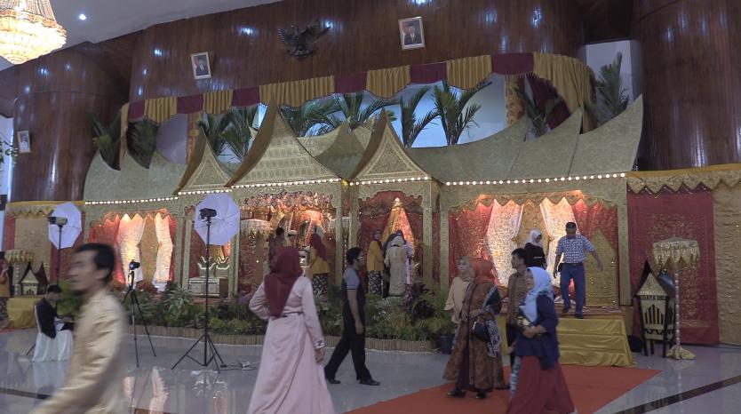 The Minangkabau style 'stage' where attendees greet the bride and groom.