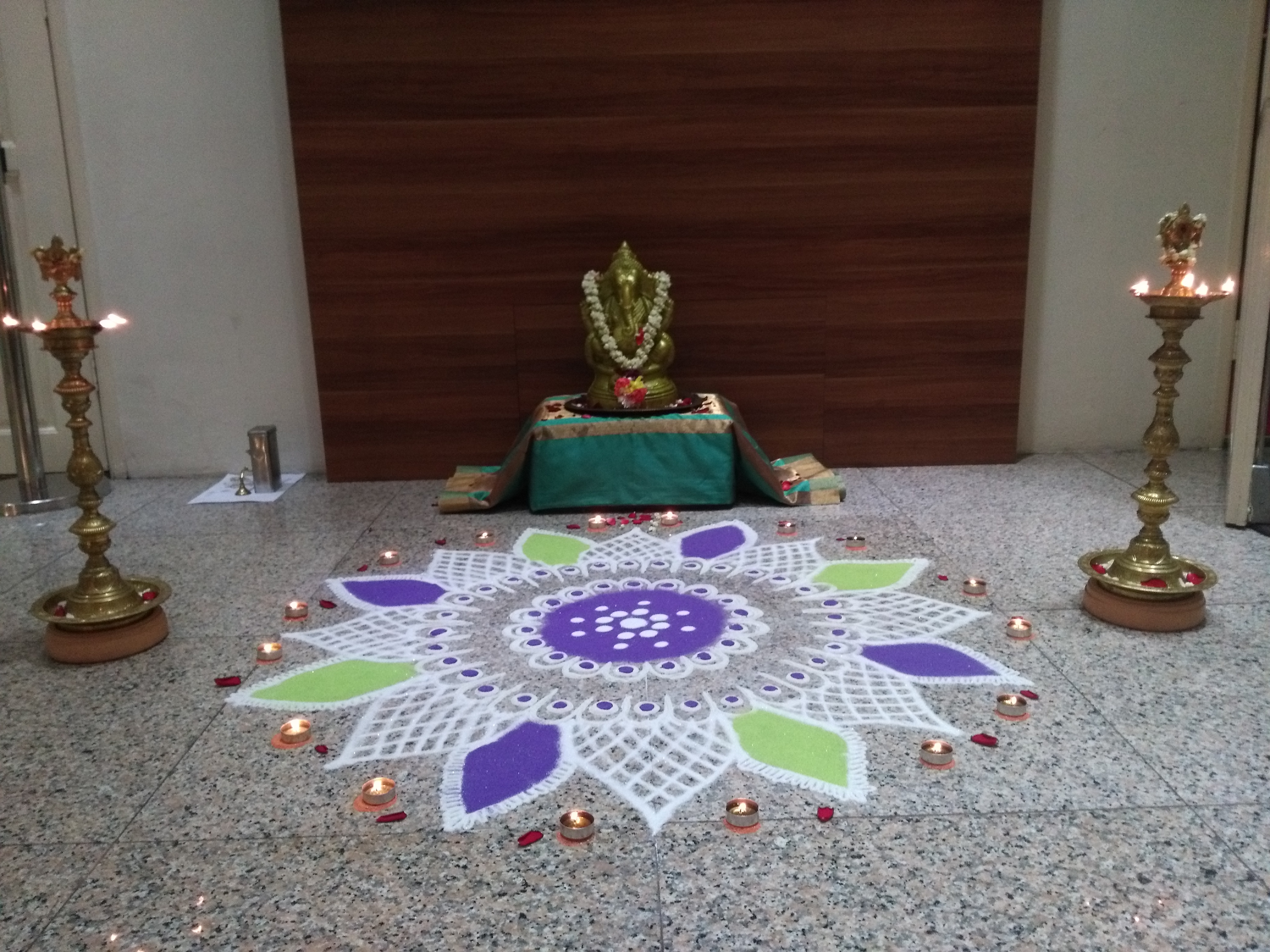 An offering in front of the auditorium.