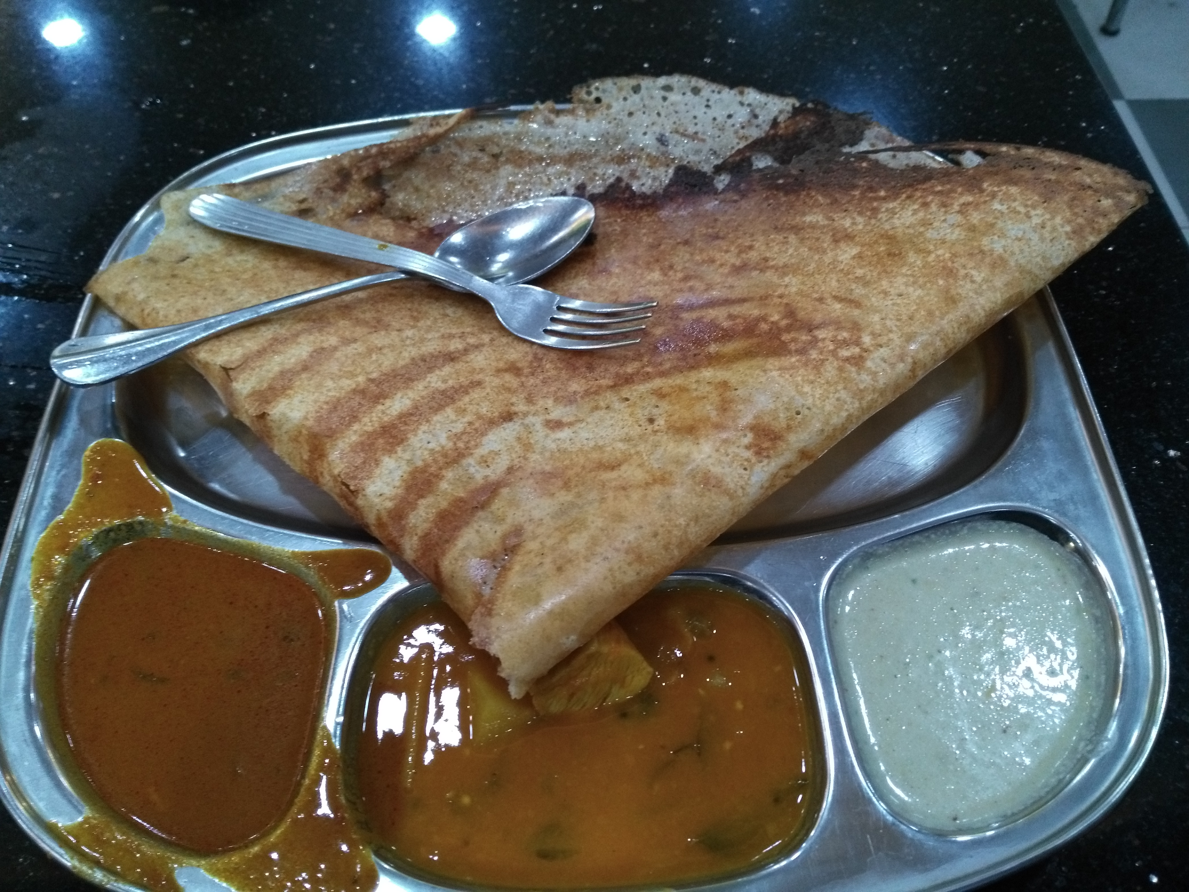 Go-to dosa platter with sambal and a couple of chunteys.
