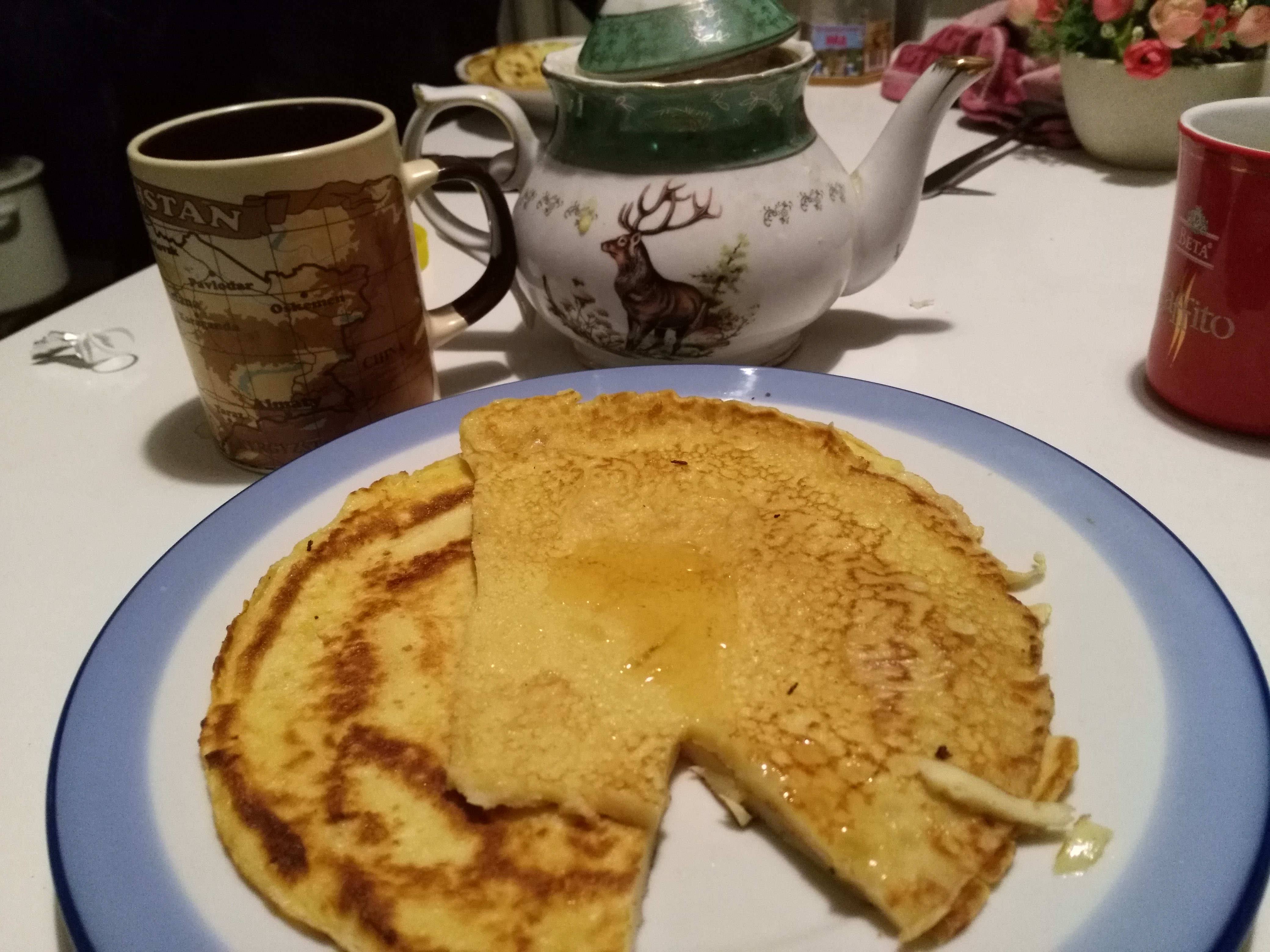 Homemade pancakes, courtesy of my Bishkek roommate, Alexy.