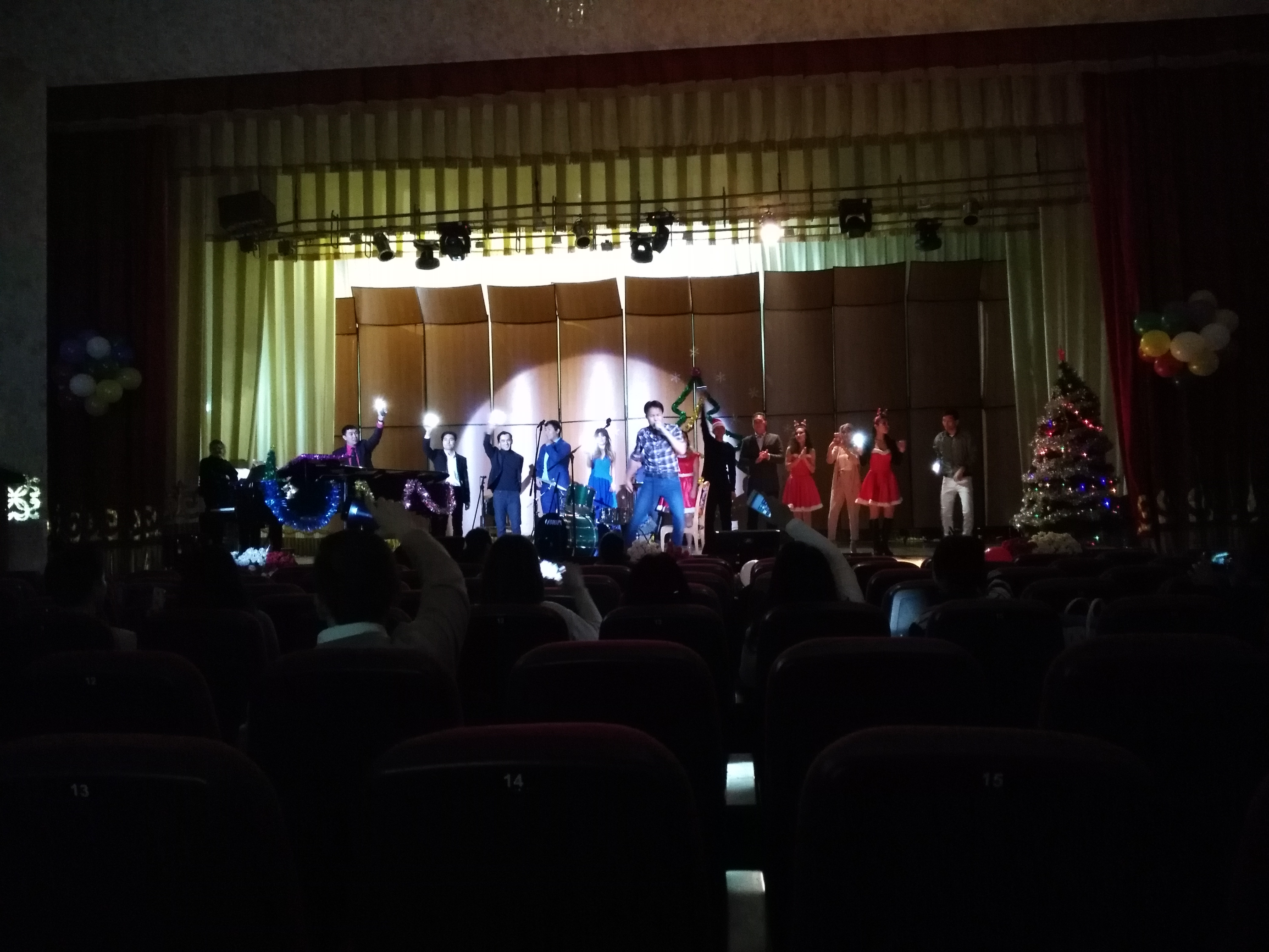 The grand finale of the Christmas concert at the Kyrgyz National Conservatory.
