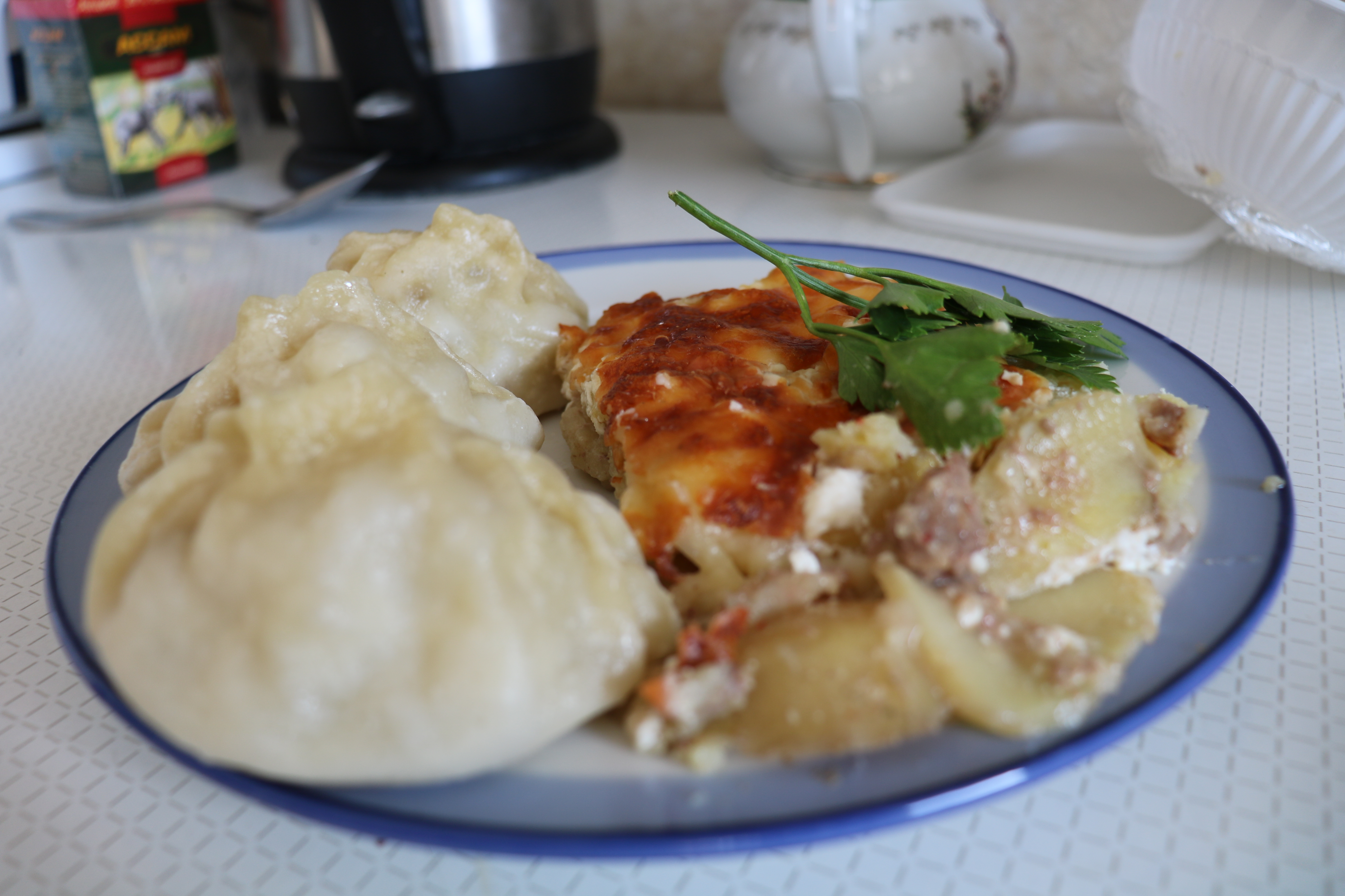 Manti (meat n' potato dumplings) and some form of casserole.