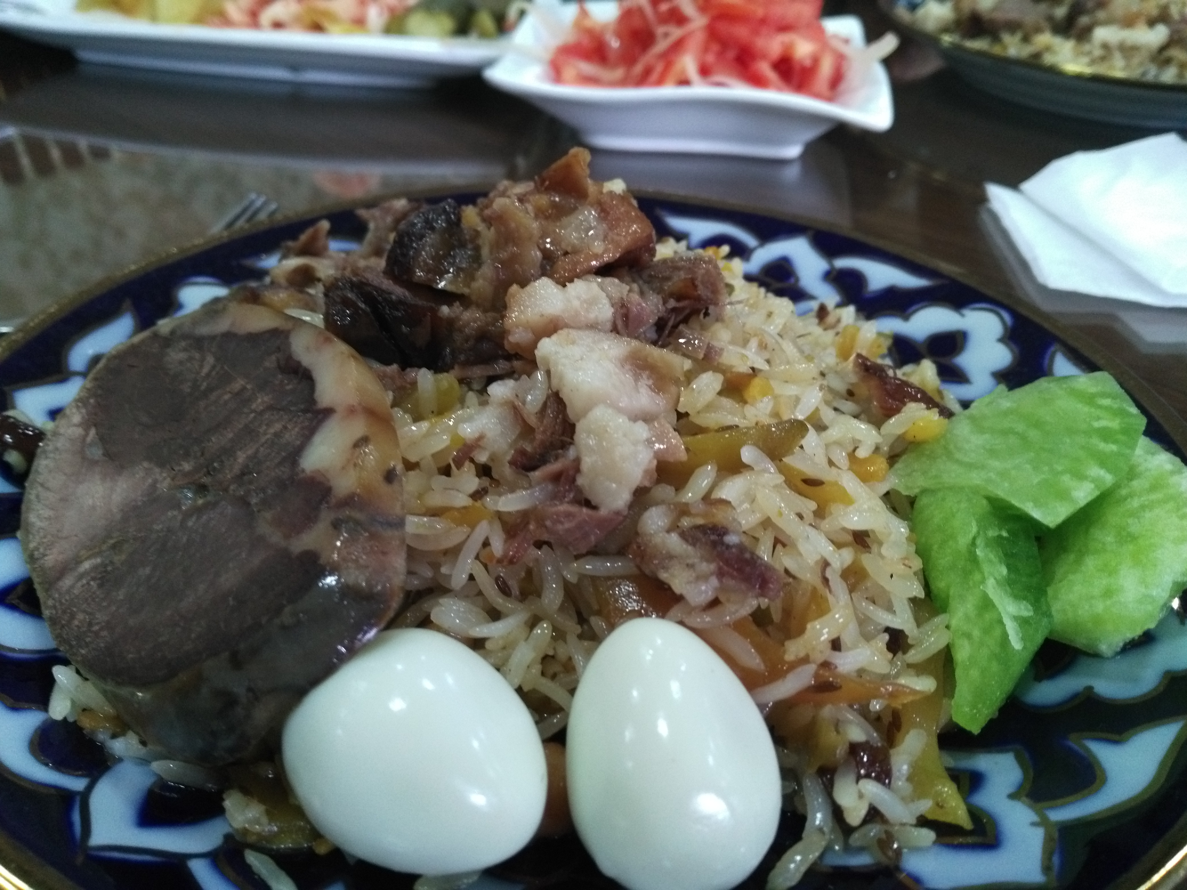Wedding plov with horse meat and eggs (the best I've had so far).