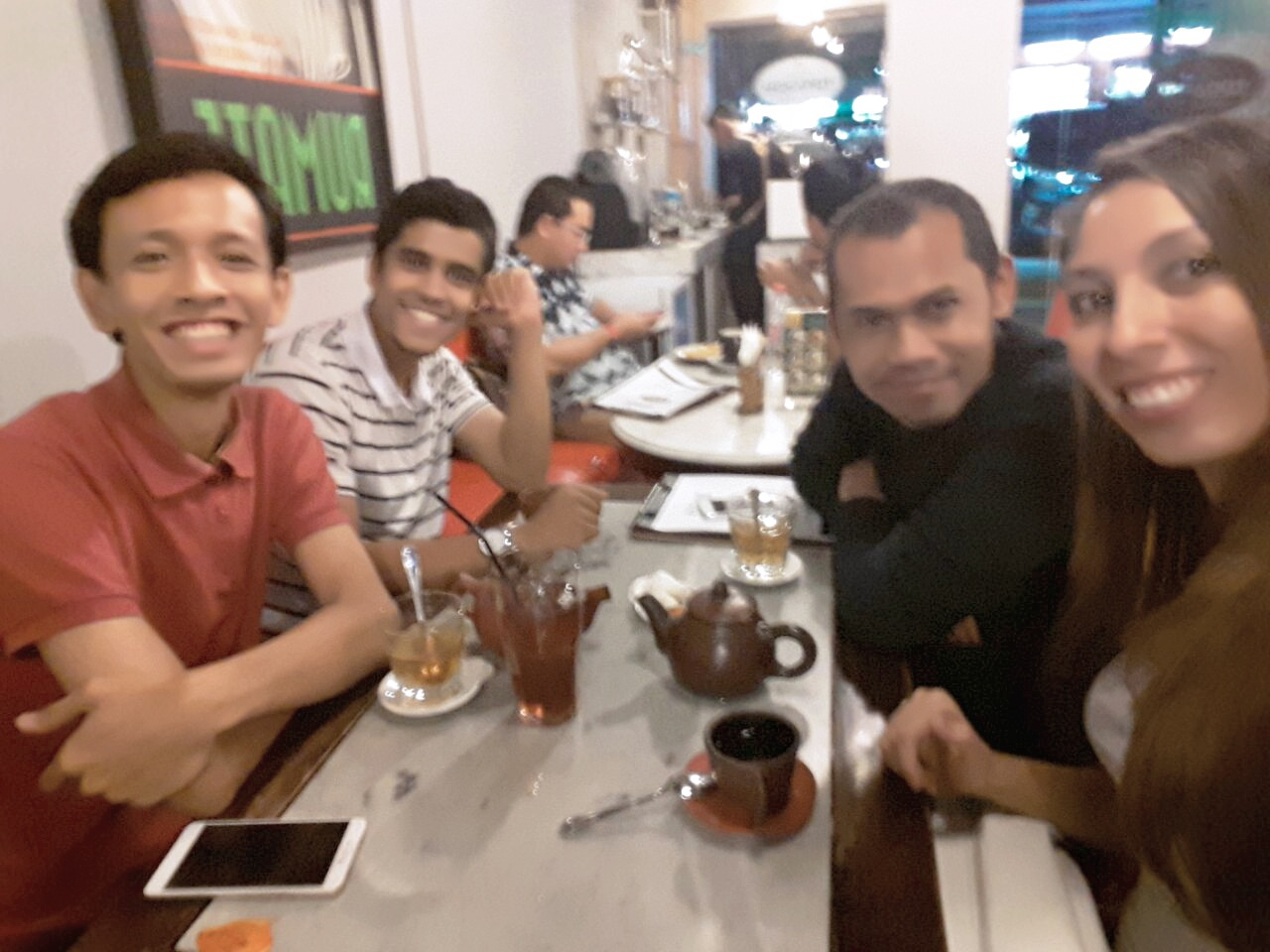 Tony and the gang at a cafe in Central Jakarta.