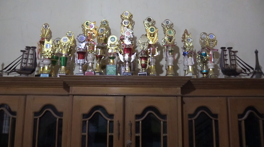 Pak Waluyo's mammoth collection of trophies.